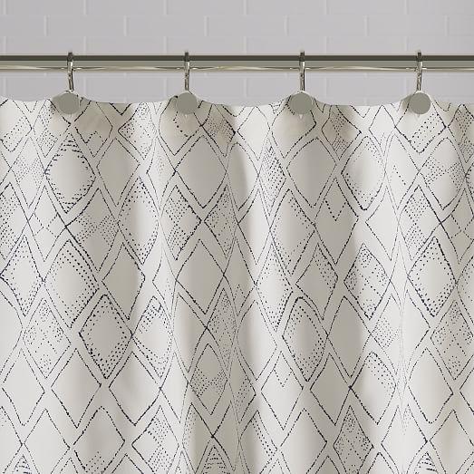 organic hand drawn diamonds shower curtain