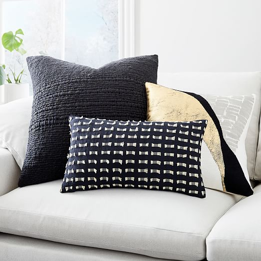 embroidered abstract path pillow cover