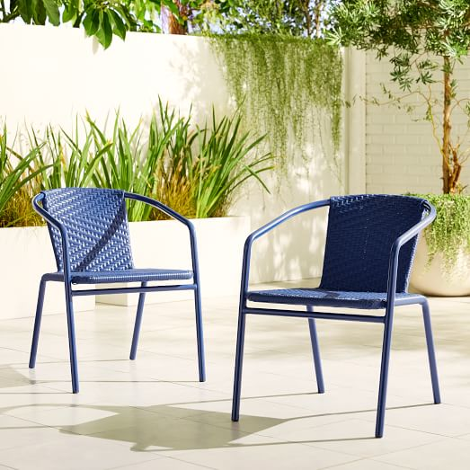 all weather wicker stacking chair set of 2