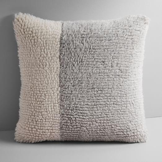 colorblock shag pillow cover