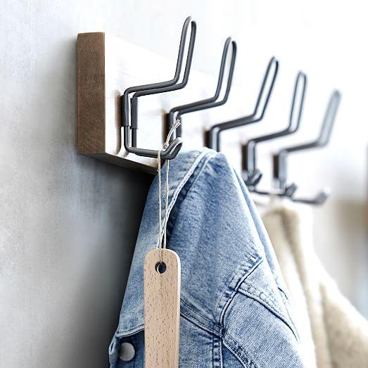 industrial wood metal hook rack