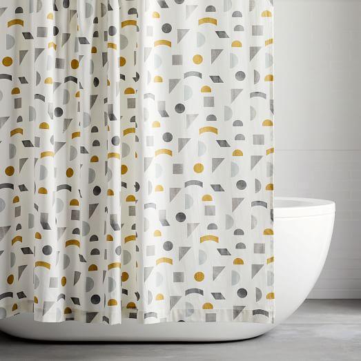 organic mid century geo shower curtain