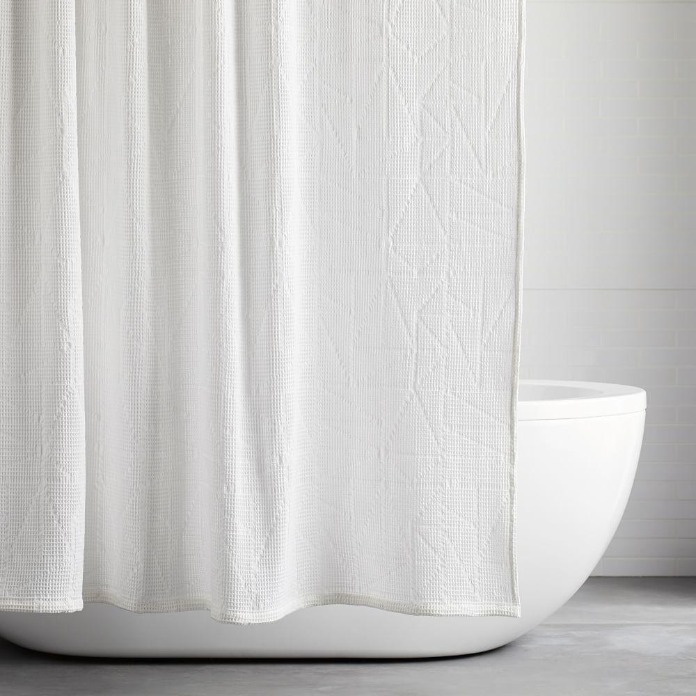 organic triangle waffle shower curtain