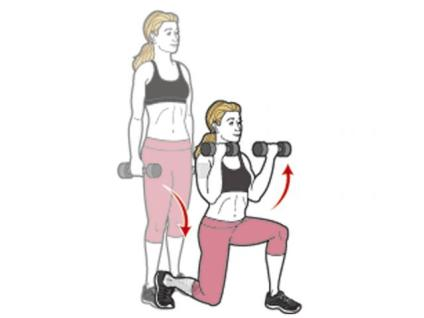 Image result for EXERCISE 4DUMBBELL LUNGE WITH BICEPS CURL