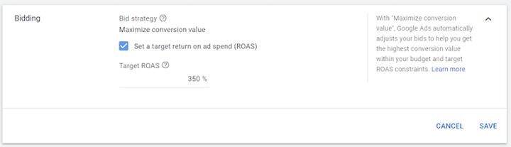 target ROAS option in google ads