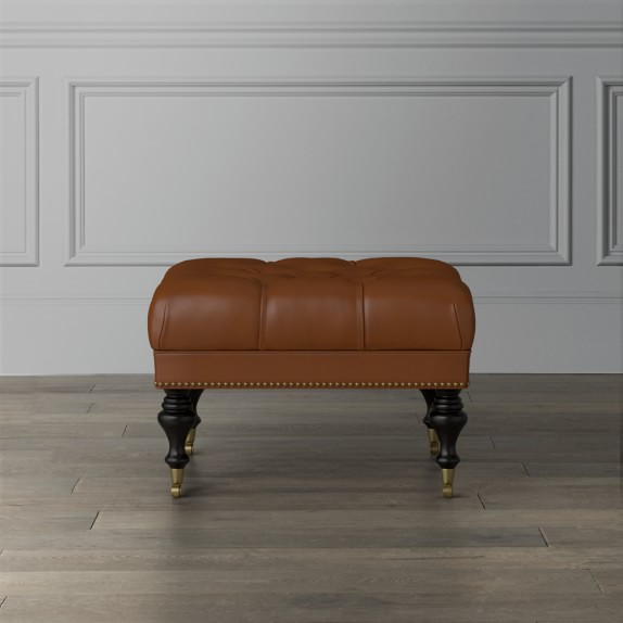 fairfax leather square ottoman turned leg with tufted top