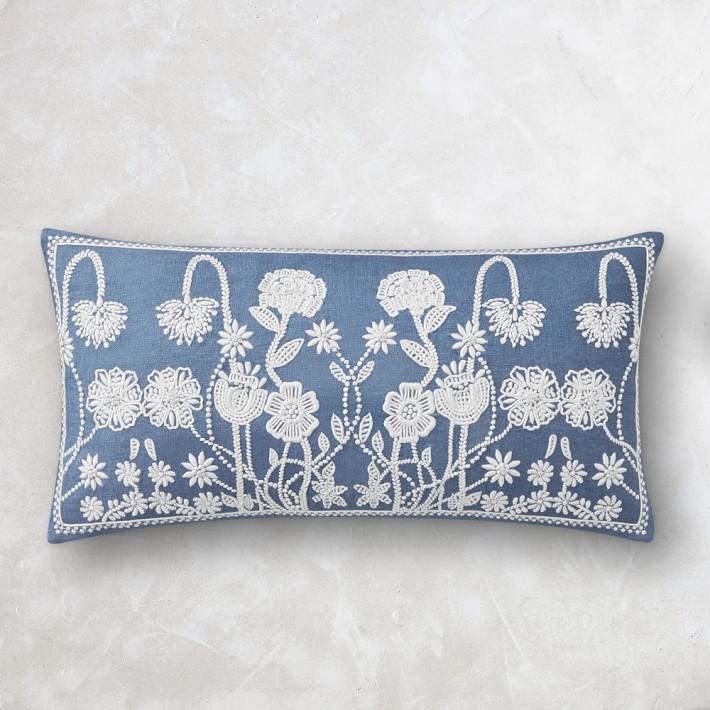 blue aerin merida embroidered lumbar