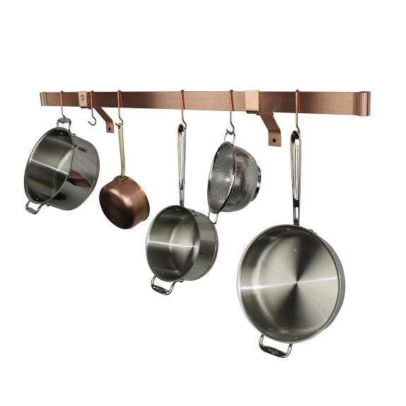 enclume rolled end bar wall mounted pot rack