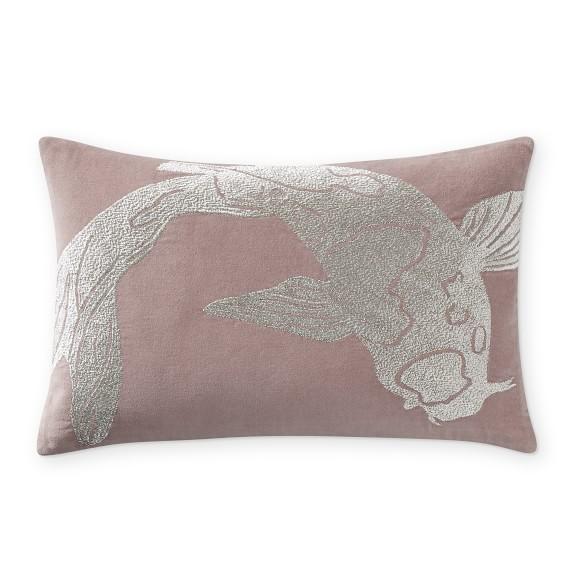 blush koi zardozi lumbar pillow
