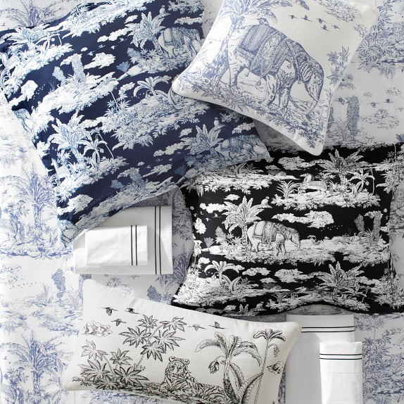 lanta embroidered toile pillow cover