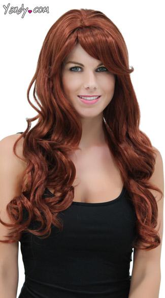 Rich Auburn Long Curly Wig Blush Broadway Cognac Wig Red
