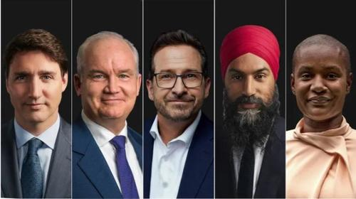 Source: Liberal Leader Justin Trudeau, left, Conservative Party of Canada Leader Erin O'Toole, centre left, Bloc Québécois Leader Yves-François Blanchet, centre, NDP Leader Jagmeet Singh, centre right, and Green Party Leader Annamie Paul.