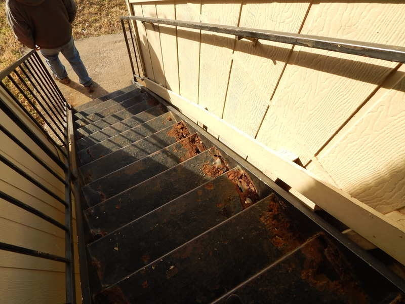 Outdoor Stairs And Landing Repair And Replace On Multifamily | Repairing Outdoor Wooden Steps | Staircase | Patio | Concrete Slab | Front Porch | Stringer