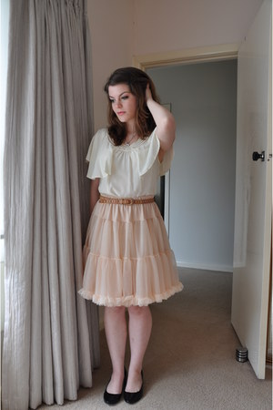 Light Pink Ruffled American Apparel Skirts Off White