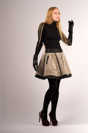 Black Opaque Full Express Tights Off White ADAM Skirts