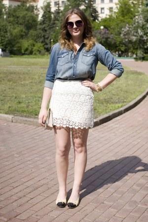 White Lace Zara Skirts Cream Chanel Flats DENIM LACE