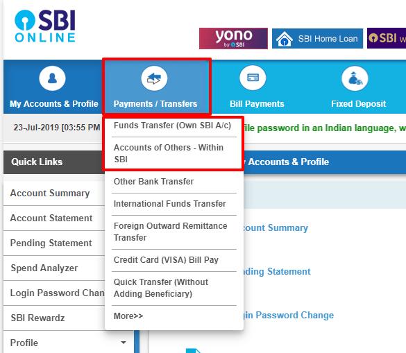 SBI NEFT transfer