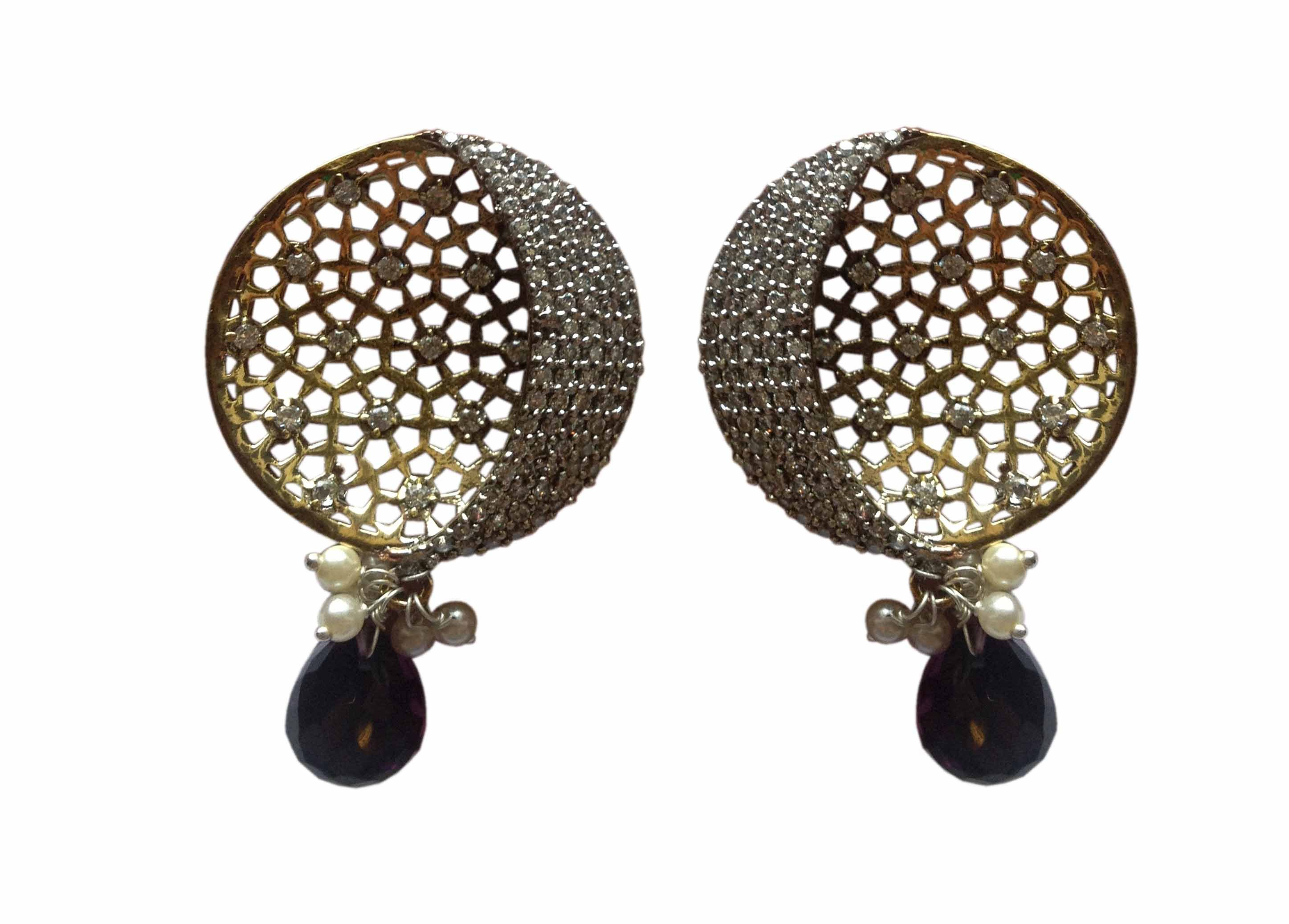Half Moon Shape With Hexagon Cut Detailed Earring Online