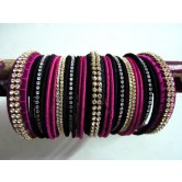 magenta-and-black-silk-thread-party-wear-bangles