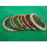 maroon-silk-thread-party-wear-metal-bangles
