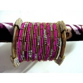 pink-party-wear-silk-thread-metal-bangles