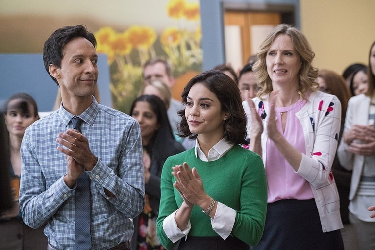 (L-R) Danny Pudi as Teddy, Vanessa Hudgens as Emily and Christina Kirk as Jackie in Powerless