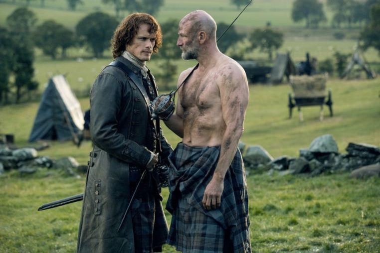 Sam Heughan as Jamie Fraser and Graham McTavish as Dougal MacKenzie in Outlander