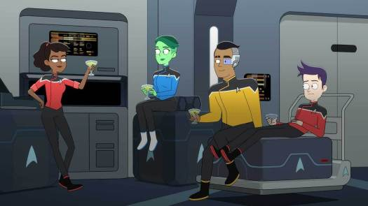 Pictured (l-r): Tawny Newsome as Ensign Mariner, Noel Wells as Ensign Tendi, Eugene Cordero as Ensign Rutherford, Jack Quaid as Ensign Boimler of the CBS All Access original series Star Trek: Lower Decks.