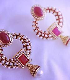 Buy Red stone pearl polki  earrings danglers-drop online