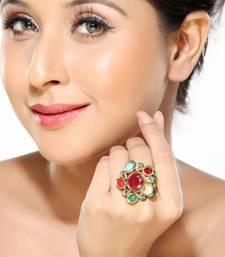 Buy  A delightful Navratan Kundan Ring Ring online