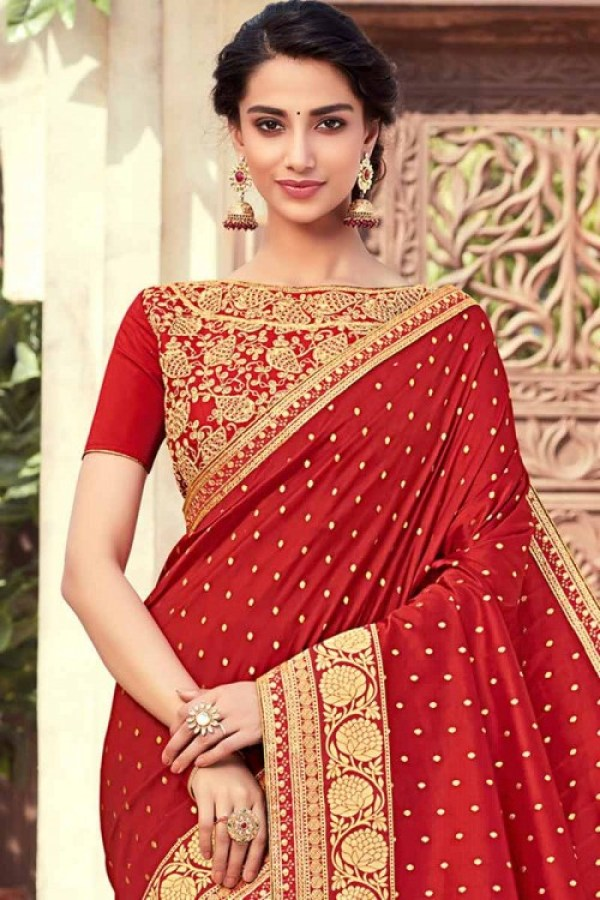 Red Silk Saree With Raw silk Blouse