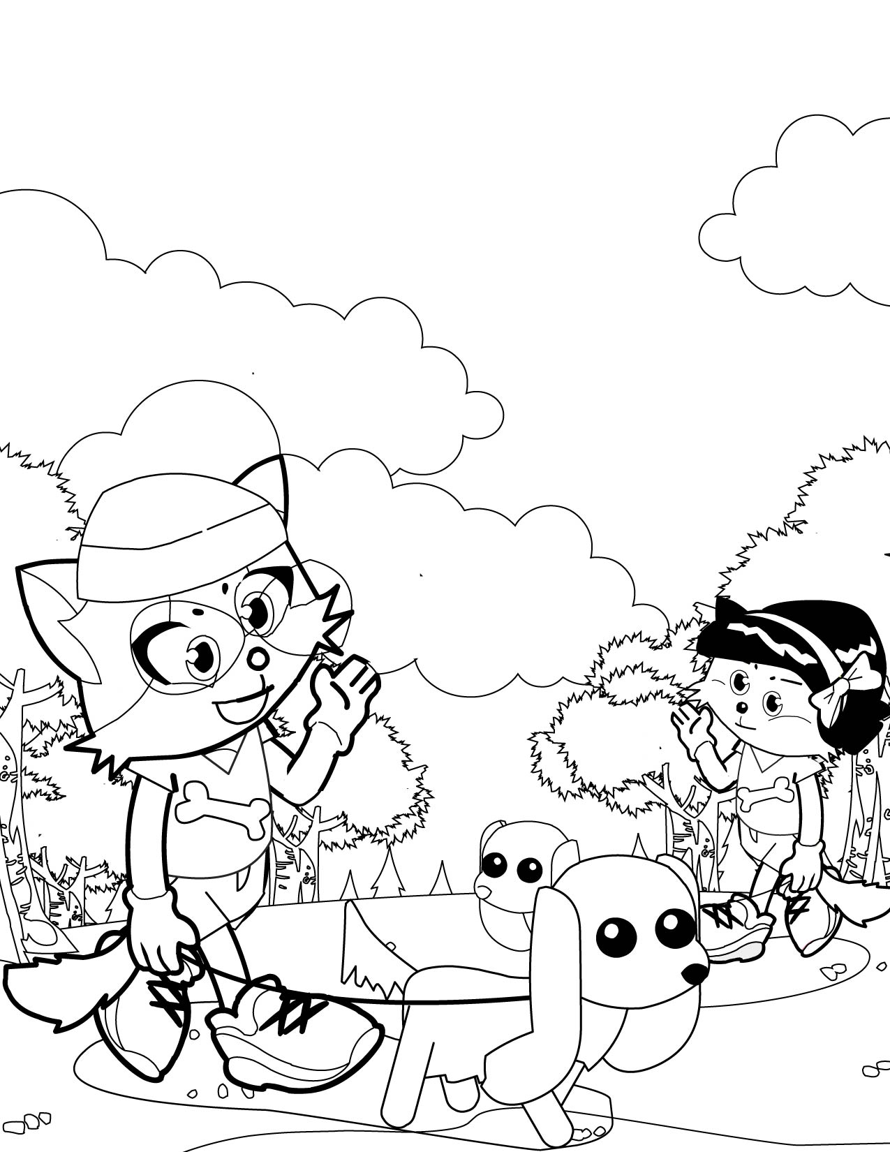 Dog Walking Away Coloring Pages