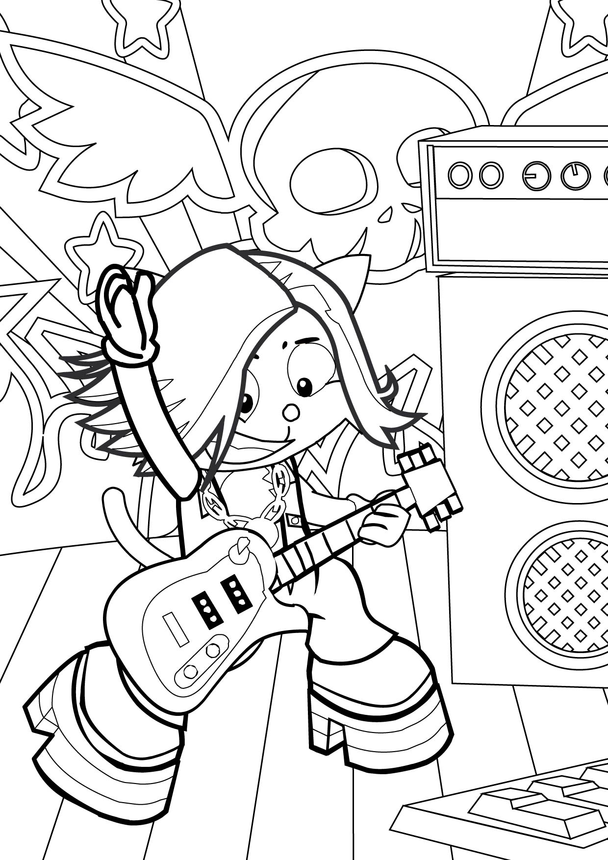 rock star coloring page handipoints