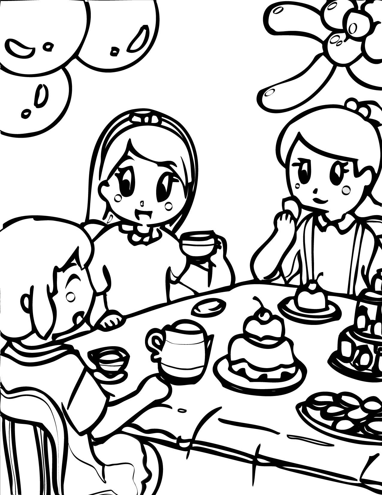 tea party coloring page handipoints