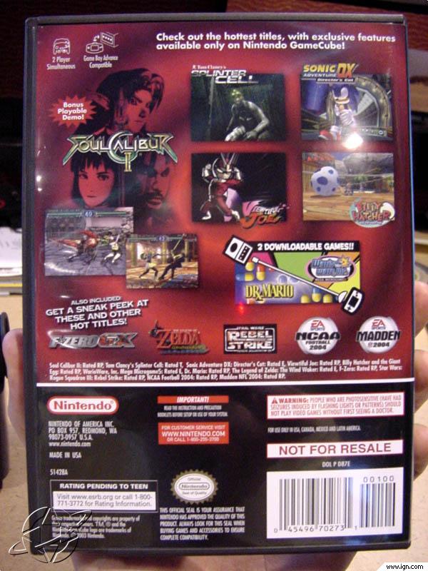 Nintendo GameCube Preview Disc Screenshots Pictures