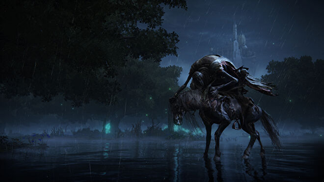 A withered and hunched figure on a horse in a wet wood before a castle in an Elden Ring screenshot.
