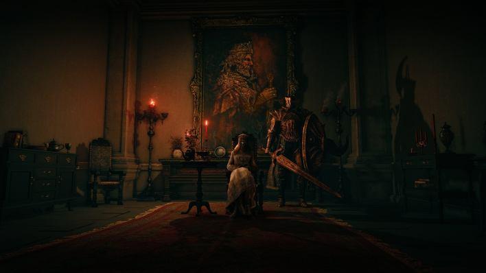 A regal figure sets in a fancy room beside a bodyguard in an Elden Ring screenshot.