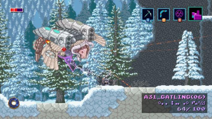 Axiom Verge 2's new character can hack enemies, like this metal flying beastie.