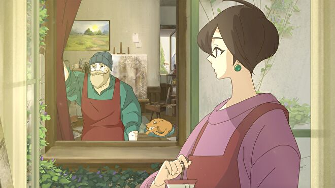 A Ghibli-esque still of a painter looking at her neighbour in Behind The Frame.