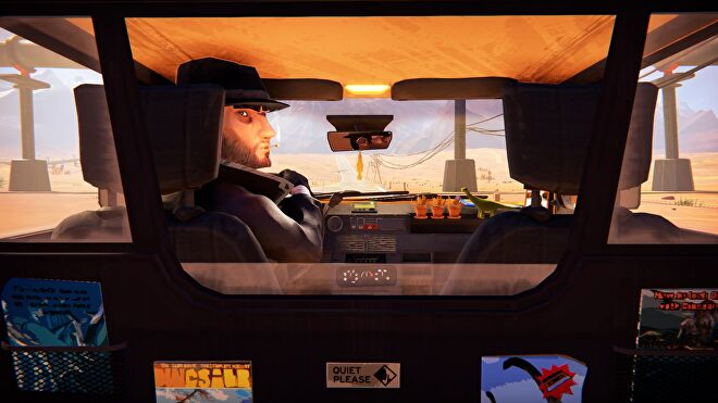 An eerie taxi driver attempts to make conversation with you in Road 96.