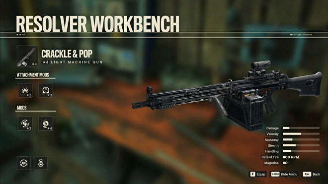 A screenshot of the Workbench screen in Far Cry 6 with Crackle & Pop selected.