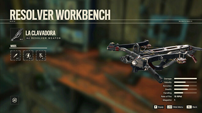 A screenshot of the Workbench screen in Far Cry 6 with La Clavadora selected.