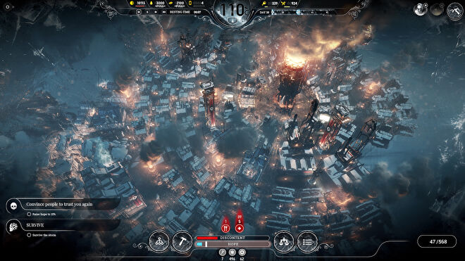 The settlement in a ring around the furnace in a Frostpunk screenshot.