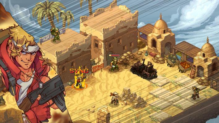 An image of Metal Slug Tactics, showing an isometric battlefield with colourful 2D sprite art of a desert battlefield.
