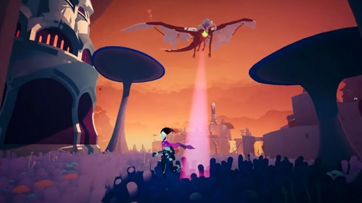 The Solar Ash skater fights a sky beastie.