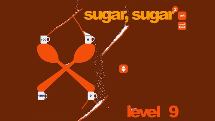Sugar, Sugar - Two large spoons hold four cups. A player has drawn several different lines directing hundreds of grains of sugar into the cups from a single source.