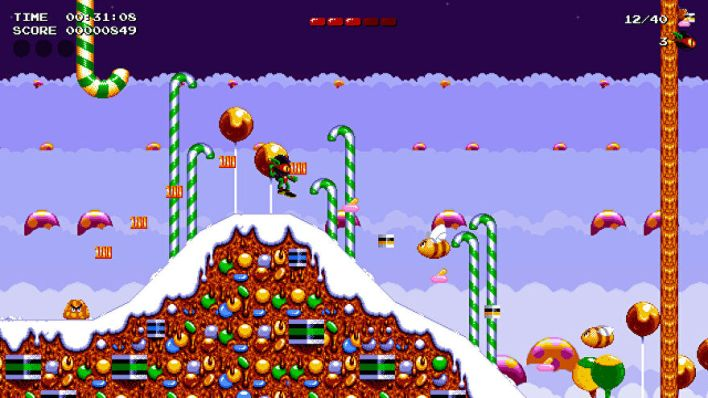 A screenshot of Zool Redimensioned showing ninja Zool leaping over a snow-topped mountain of sweets while angry bees and blobs look on.