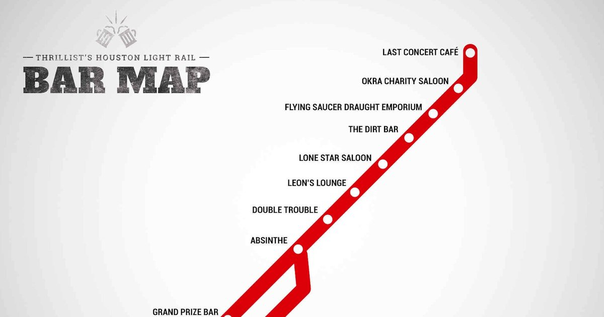 Houston Light Rail Bar Map Bars At Every Stop Thrillist