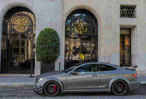 a Grey Mercedes