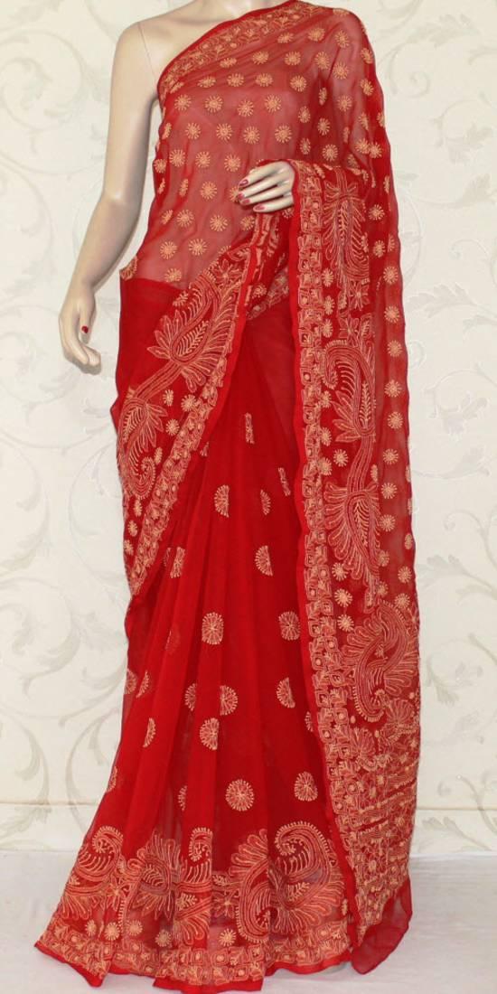 Buy Hand Embroidered Lucknowi Chikankari Saree With